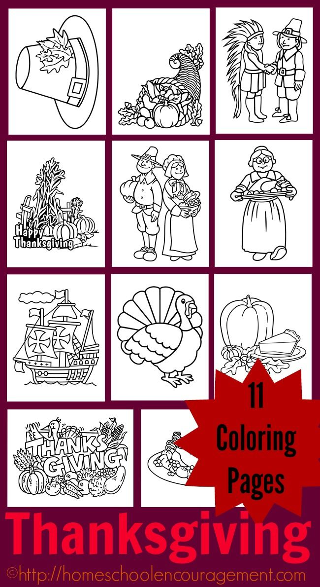 Thanksgiving Coloring Pages, Turkey Coloring page, Pilgrim Coloring Page, Mayflower Coloring page, eleven pages in all.