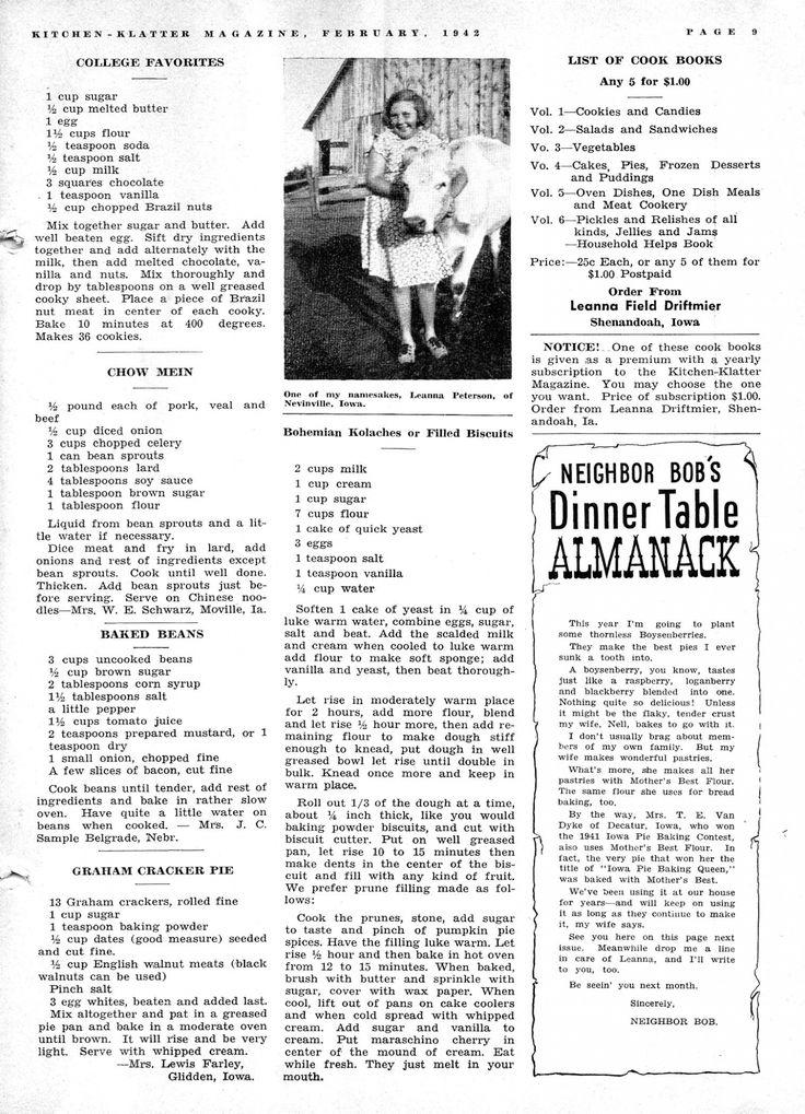 Kitchen Klatter Magazine, February 1942 - College Favorites, Chow Mein, Baked Beans, Graham Cracker Pie, Bohemian Kolaches, Filled Biscuits