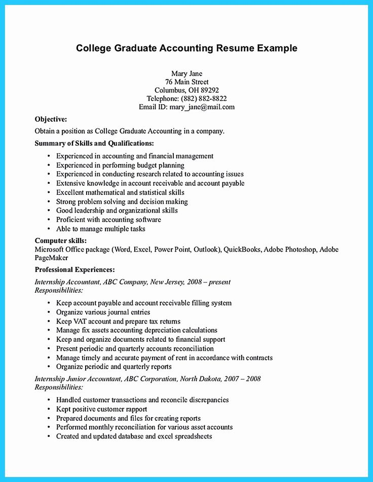 Resume Objective Examples for College Students Best Of