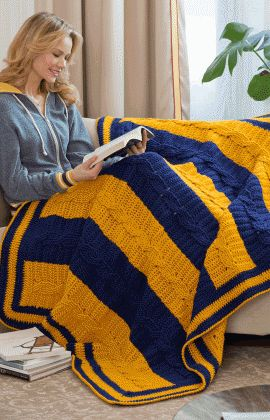School Colors Crocheted Blanket #Free #Pattern.  This would be great for  I see ASU and Boise State colors here! :) WK