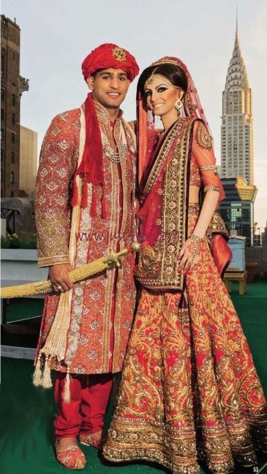 Amir Khan and Faryal Makhdoom Wedding Dress. See more @ http://www.just4info.org/2013/06/amir-khan-faryal-makhdoom-wedding-pics.html