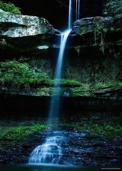 view of the waterfall at Cane Creek Canyon Nature Preserve, Tuscumbia, Alabama