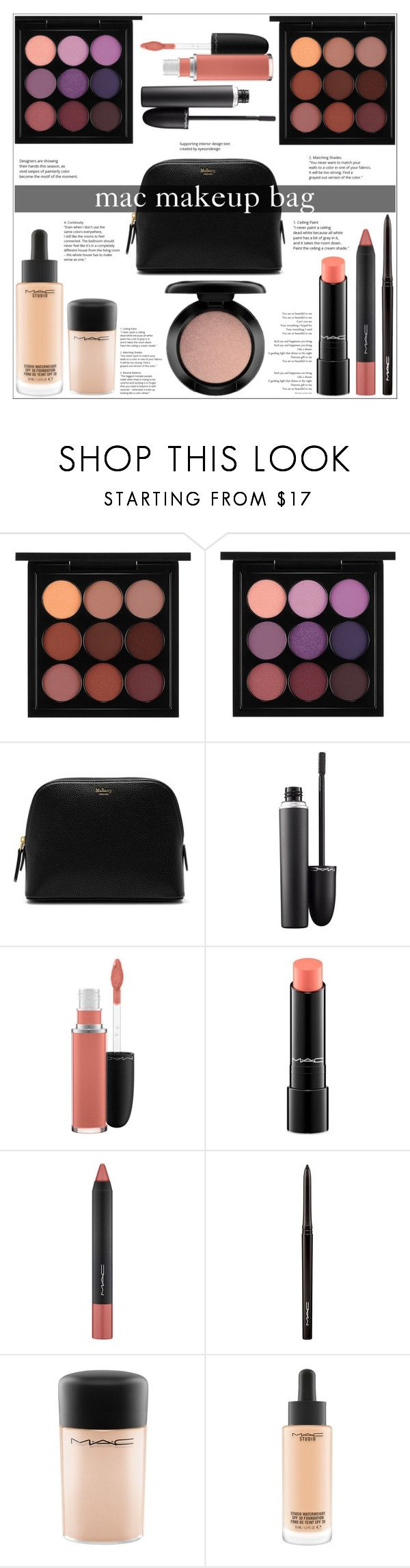"""""""Mac Makeup Bag"""" by jungshook ❤ liked on Polyvore featuring beauty, MAC Cosmetics and Mulberry"""