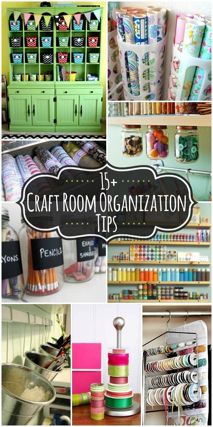15+ Craft Room Organization Ideas on { lilluna.com } #craftroom. LOVE using the pant hangers for ribbons!