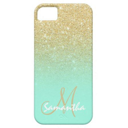 Modern gold ombre mint green block personalized iPhone SE/5/5s case - tap to personalize and get yours