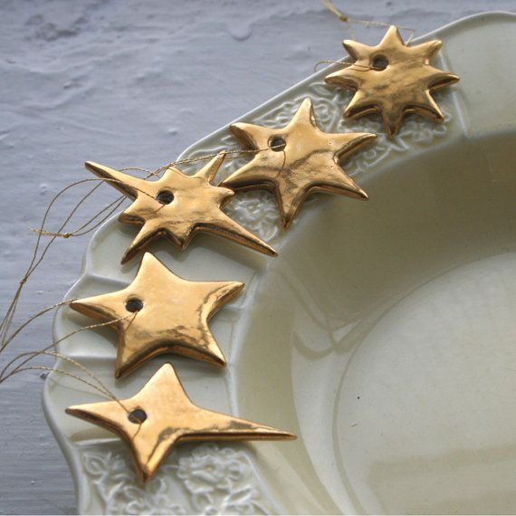 Gold Christmas Star Set Limited Edition Porzellan …