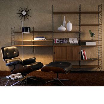 STRING SHELF SYSTEM - walnut & black - String shelving / string ® / FunktionAlley