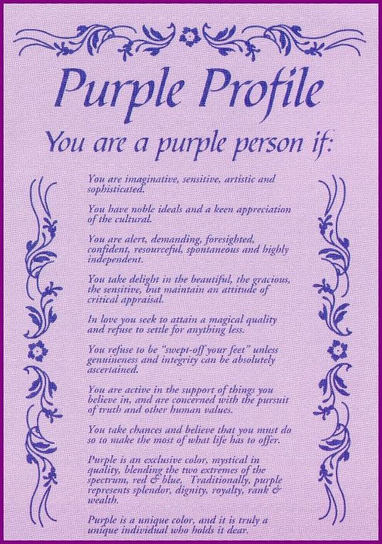 The Purple Profile postcard - Love this!  I also have it on a purple t-shirt