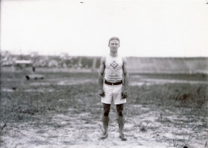 Archie Hahn of the Milwaukee Athletic Club, winner of the 60, 100, and 200 meter running events at the 1904 Olympics.