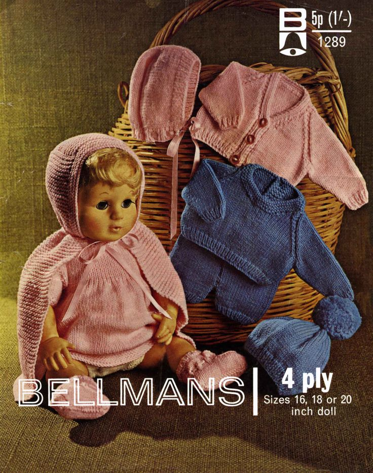"Vintage Doll's Clothing for 16""-18""-20"" Doll, !0 Items, Knitting Pattern, 1960 (PDF) Pattern, Bellmans 1289 by DaleStratford on Etsy"