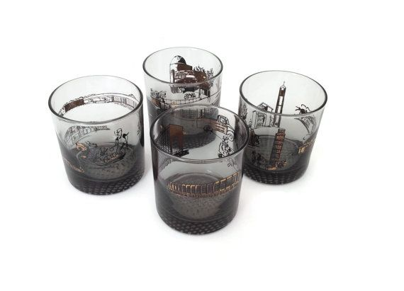 Mid century Modern Cocktail Glasses Smoked Glass Barware Black and Gold Rocks Glasses  Set of 4