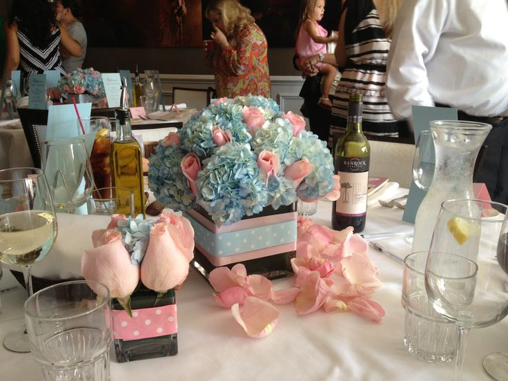 Pink roses and light blue hydrangea baby shower