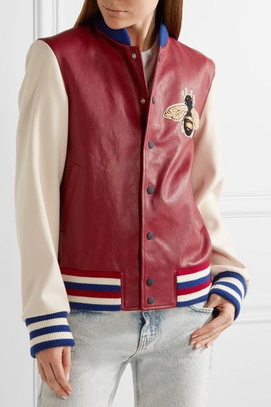 Claret leather, beige wool, multicolored wool-blend Snap fastenings through front Fabric1: 100% leather (Lamb); fabric2: 100% wool; trim: 97% wool, 2% polaymide, 1% elastane; lining: 100% cupro Specialist clean Made in Italy