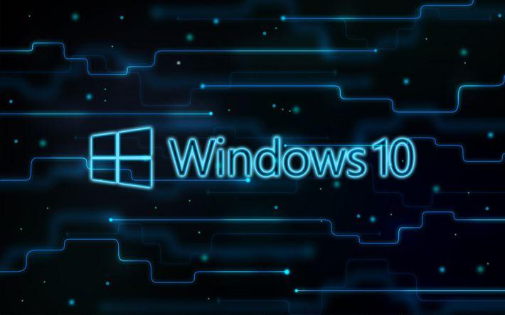 Download wallpapers Windows 10, creative, digital art, blue background, logo, Windows 10 logo, Microsoft