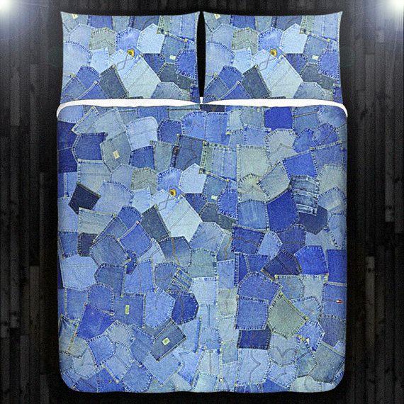 Tasche blu Denim Jeans copripiumino King biancheria da letto