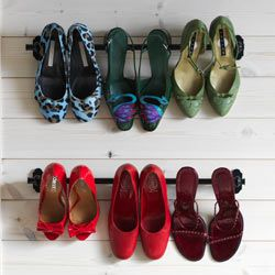 high heels hanging from FINTORP rails $7.99  BYGEL rail $2.99-$3.99