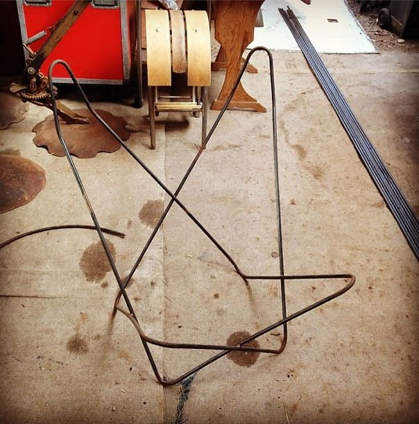 Finished frame ready to go to Billman's Foundry to be sandblasted. Jamie Burke from c8 Designs cold bends raw steel to make our butterfly chair frames. {www.TheButterflyChair.com.au — Made in Castlemaine}