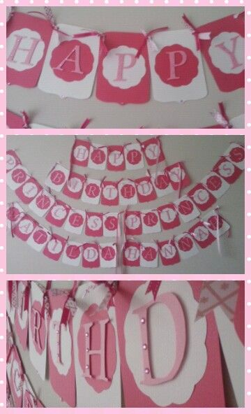 Pink and white banners made by  Www.facebook.com/celebrationsbynic