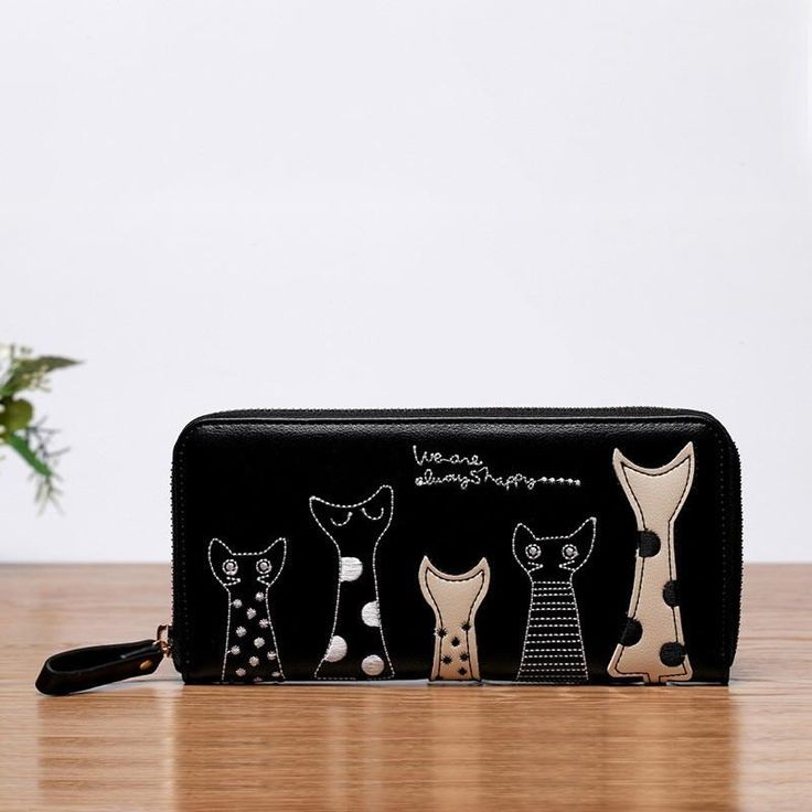 New Europe Women Cat Cartoon Wallet Long Creative Female Card Holder Casual Zip Ladies Clutch PU Leather Coin Purse ID Holder - 10 MINUS