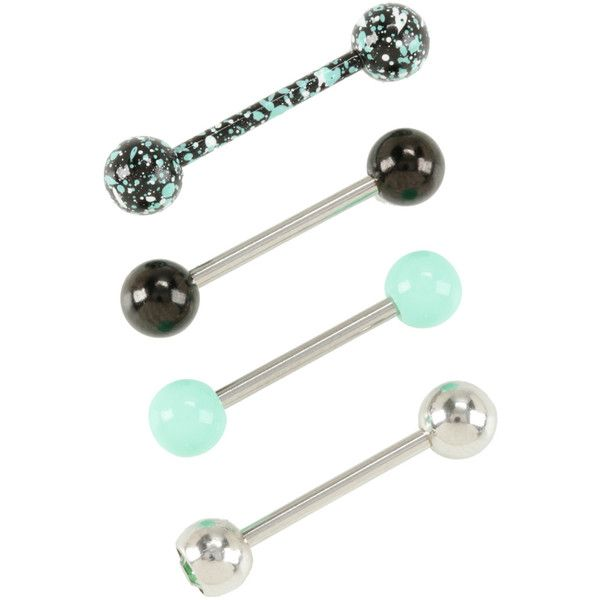 Hot Topic 14G Steel Mint Splatter Tongue Barbell 4 Pack (£7.77) ❤ liked on Polyvore featuring jewelry, piercings, multi, beaded jewelry, beading jewelry, mint green jewelry, steel jewelry and mint jewelry