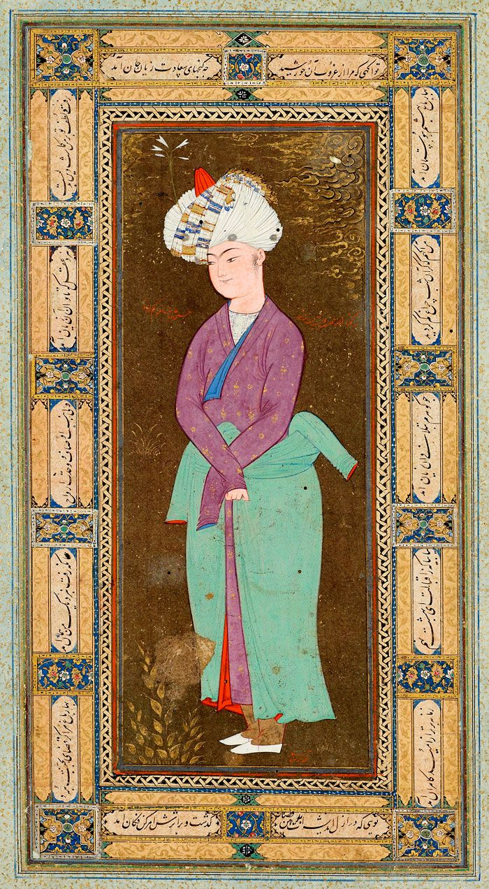 Standing Uzbek Youth Leaf from the Read Persian Album, signed Muḥammad   Mu˒min   Afghanistan, Herat   ca. 1600   The Morgan Library & Museum