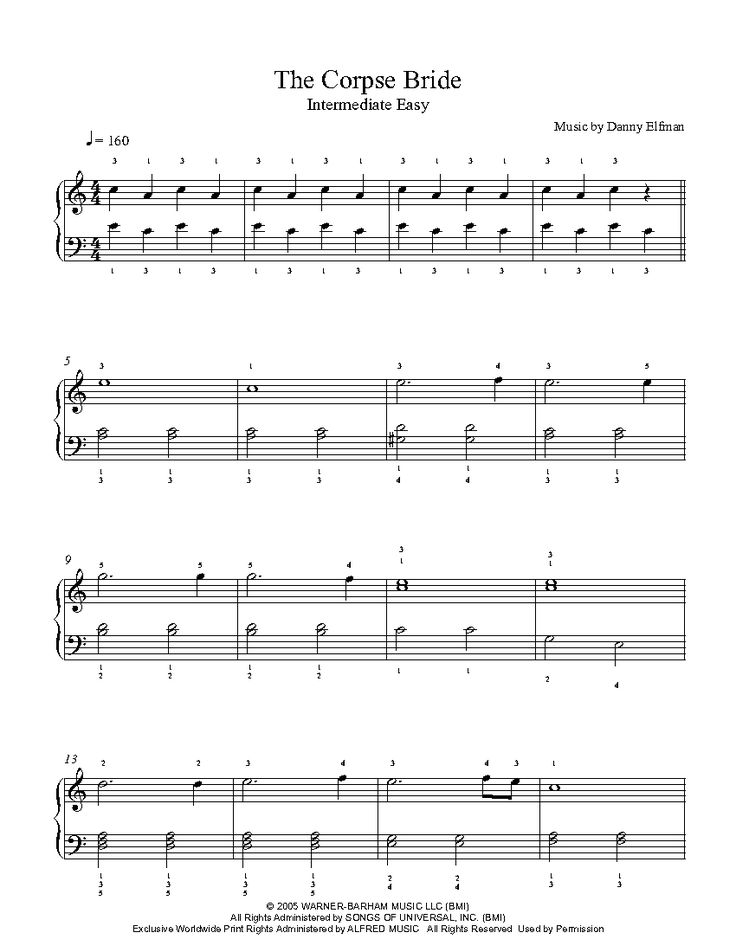 Corpse Bride Main Theme by Danny Elfman Piano Sheet Music | Intermediate Level