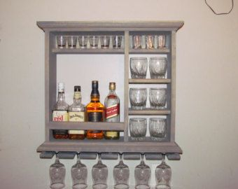 Mini Bar Black stain wine rack liquor cabinet by DogWoodShop