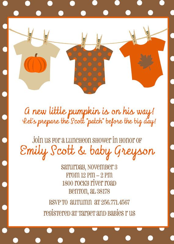 Fall, Autumn, Pumpkin Baby Shower - Onesies on Clothesline (5x7 PRINT-YOUR-OWN) on Etsy, $15.00