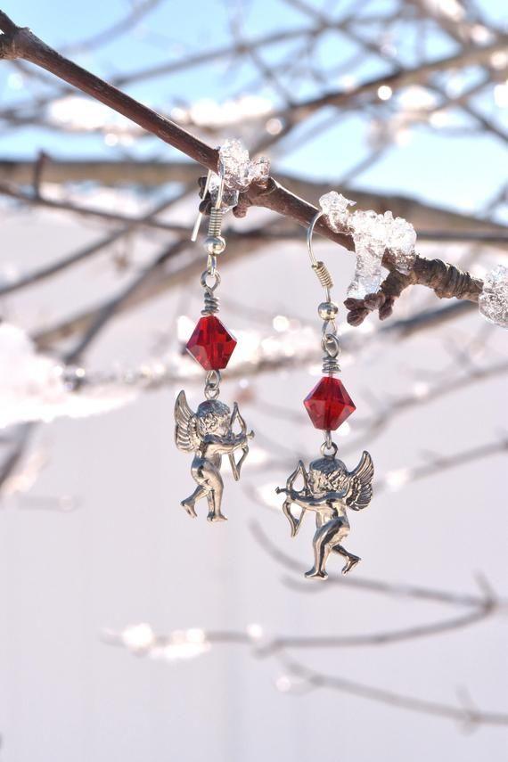 Amor Ohrringe Valentinstag Geschenk romantischen Schmuck, roter Kristall Silber Amor Ohrringe, lange baumelnde Amor Ohrringe   – Products