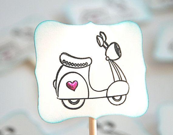 Vespa Love  Cupcake Toppers/Party Sticks by AForestFrolic on Etsy, $12.00