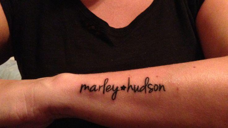 Name tattoo on forearm. Marley, Hudson. #nametat