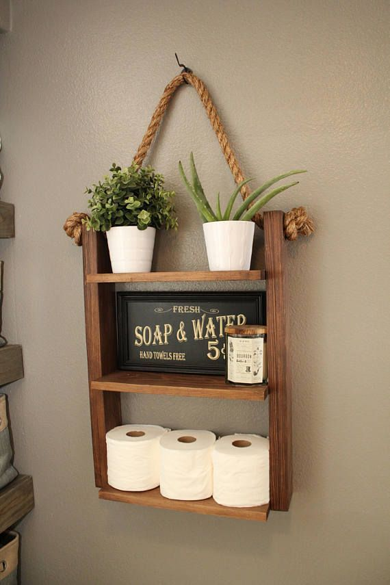 Rustic Ladder Shelf, Wood and Rope Shelf, Farmhous…