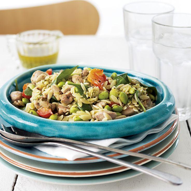 Warm Chicken, Edamame & Orzo Salad with Pesto Dressing