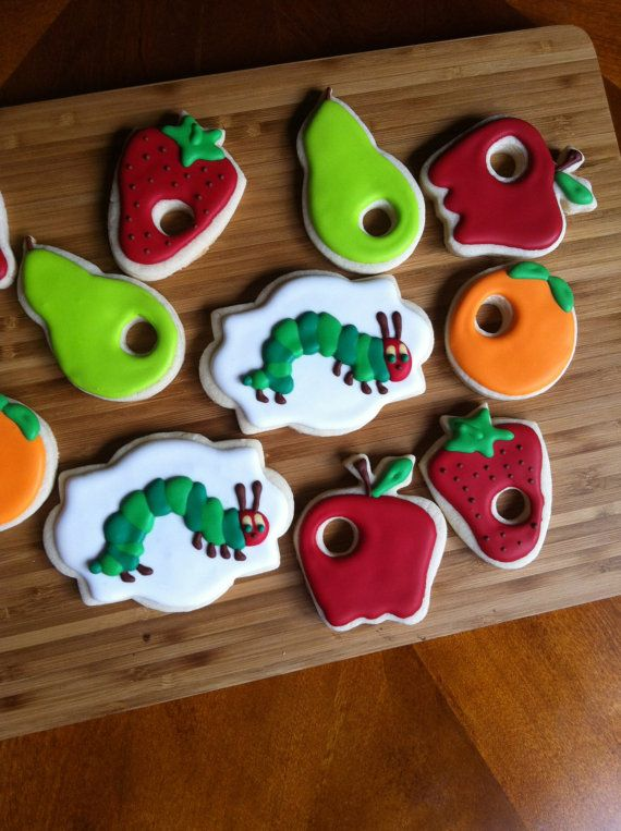 Caterpillar Cookies~ by Heidissweetshoppe on Etsy, Orange, Apple, strawberry, pear