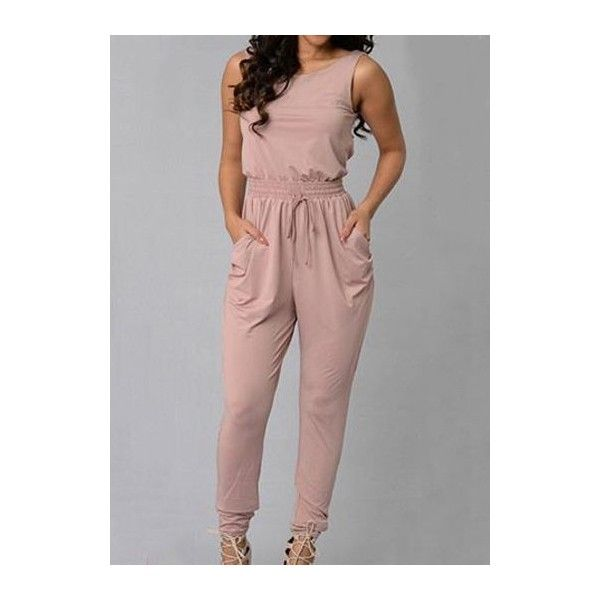 Light Pink High Waist Criss Cross Design Jumpsuit ($24) ❤ liked on Polyvore featuring jumpsuits, pink, high waisted jumpsuit, print jumpsuit, sleeveless jumpsuit, pink jumpsuit and patterned jumpsuit