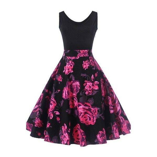 d9f092ba7 Vestido vintage negro con estampado floral púrpura en 2019 | Mi ropa ...