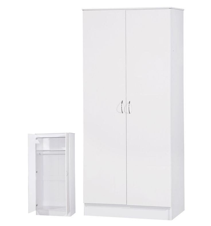 The 2 door wardrobe has plenty of storage Behind the two doors the compartment reveals a spacious interior complete with a fixed top shelf and full hanging rail below for easy organisation of your favorite fashion essentials and storage. | eBay!