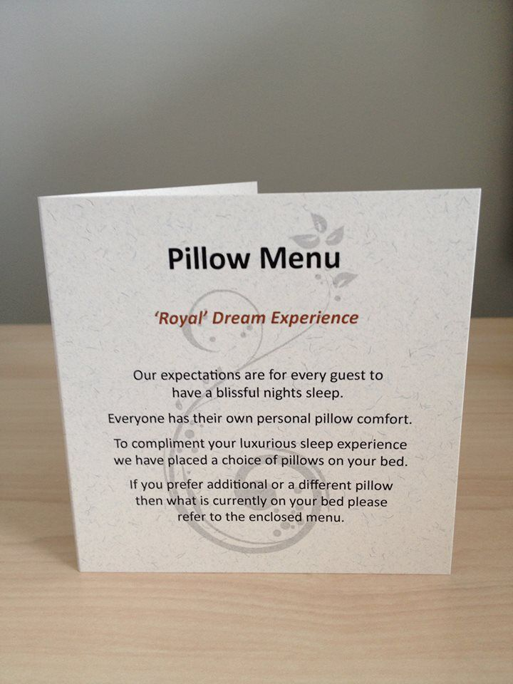The Crown Hotel Pillow Menu - 'A Royal Dream Experience'  Are the pillows on our beds different to what you prefer? Choose a more suitable option from our Pillow Menu....Bliss!  http://www.thecrownnapier.co.nz