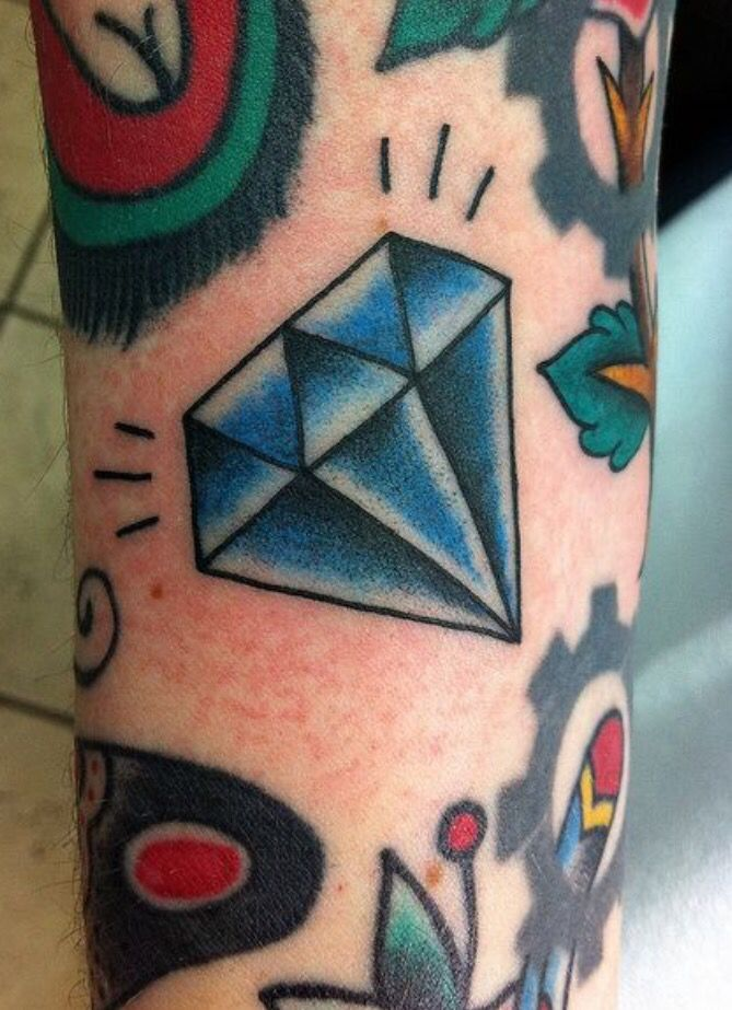 tattoos like this scattered to fill small gaps across the arm but not a diamond, must be a red ruby :D