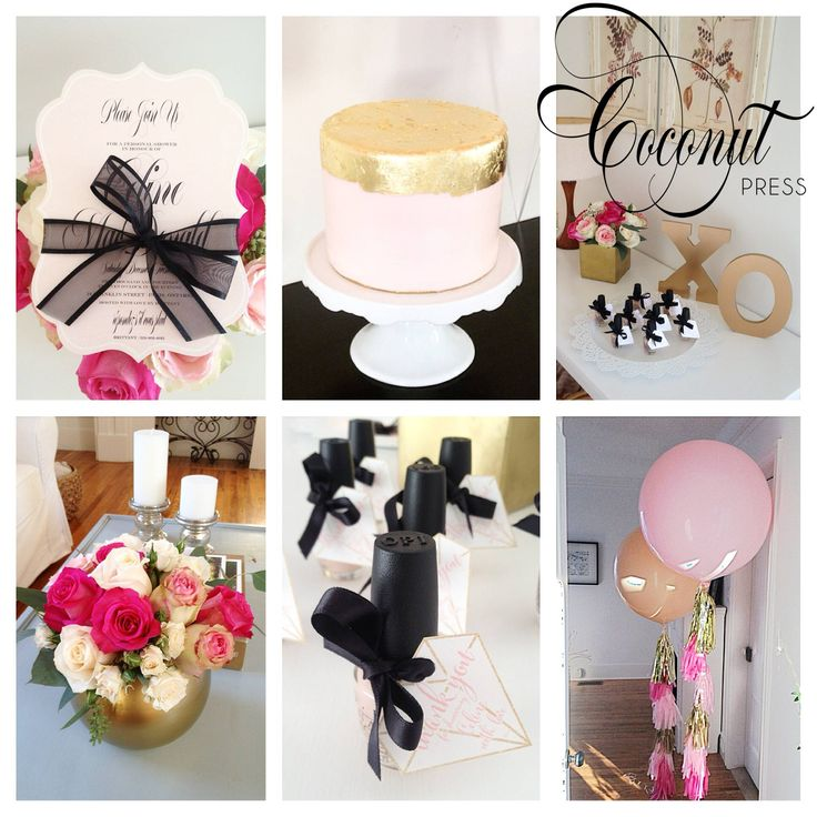 Glamorous Pink & Gold Bridal Shower Inspiration // Invitations, Favor Tags, and Images by Coconut Press