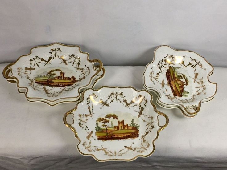 Samuel Alcock Porcelain 5 Serving Trays Staffordshire Tower HP Pastoral 1840's | eBay