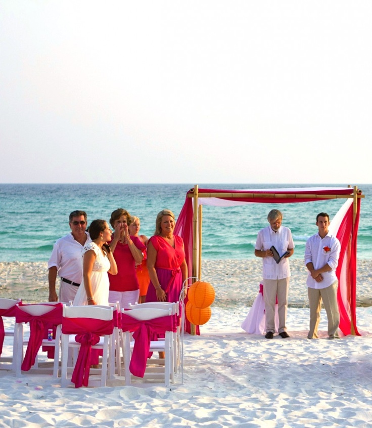 beach wedding south west uk%0A Serenity Package orange and pink beach wedding with bamboo arbor and  chinese lanterns