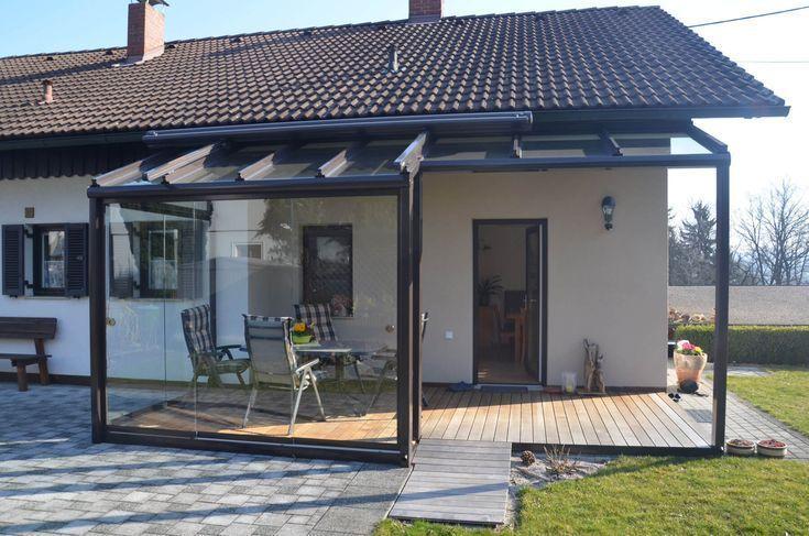 Vitrage De Terrasse Avec Zone De Verre Et D Aluminium Protegee Du Vent Terrassenverglasung Terrassendach Terrasse