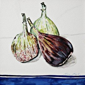 Trio of Figs Watercolour on Aquabord #ampersand