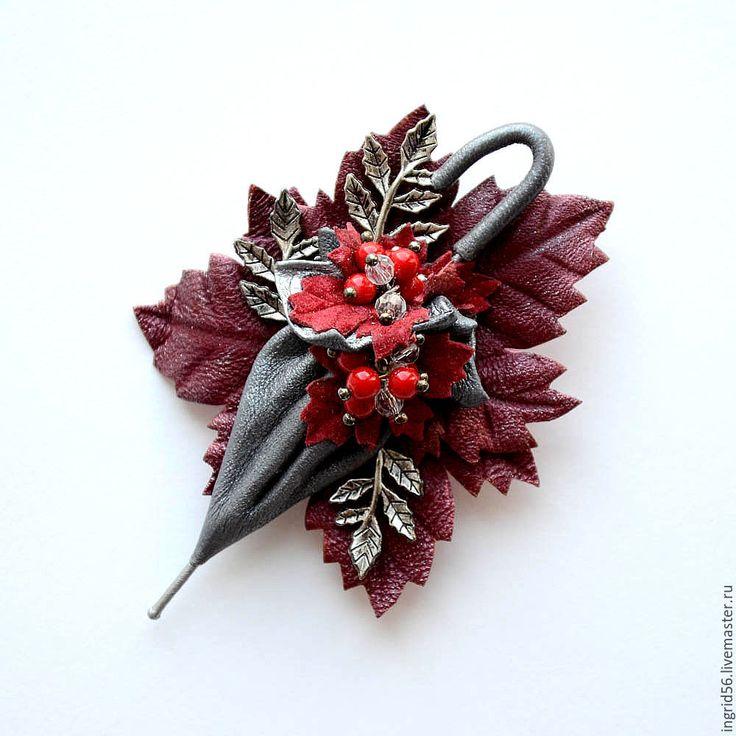 Купить Брошь из кожи Зонтик Осеннее настроение (серый) мини - украшения ручной…
