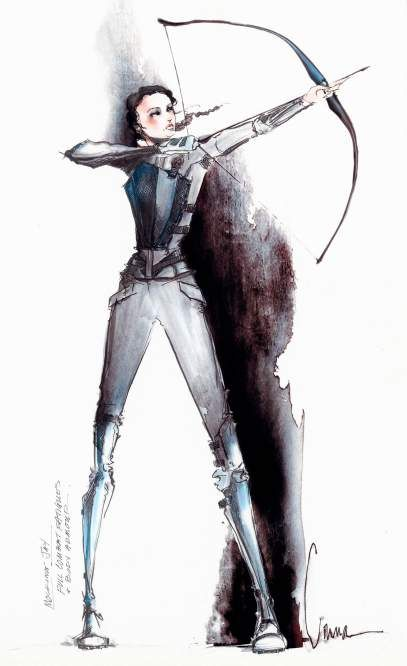 See Exclusive Sketches of the Mockingjay Battle Outfit | TIME The Hunger Games, Bow, Arrow, art, Katniss, watercolor, Archery, Cinna's sketchbook