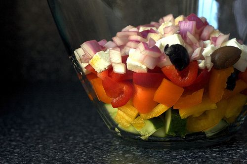 Mediterranean pepper salad.  Great summer dish that's colorful, tasty and a great side dish for any BBQ.
