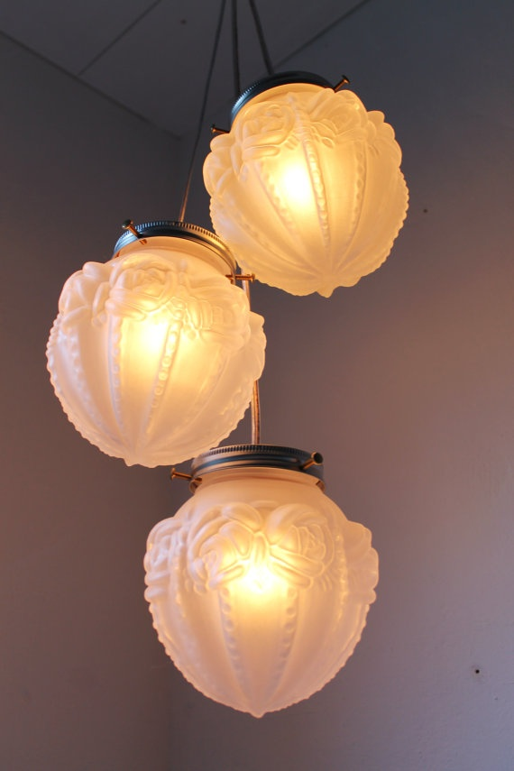 Romantic Roses Frosted Glass Globe Chandelier Light  by BootsNGus, $120.00