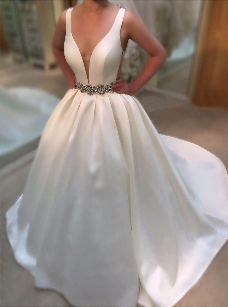 Deep V Neck White Satin Ball Gowns Wedding Dresses 2016 Vintage Bridal Gowns