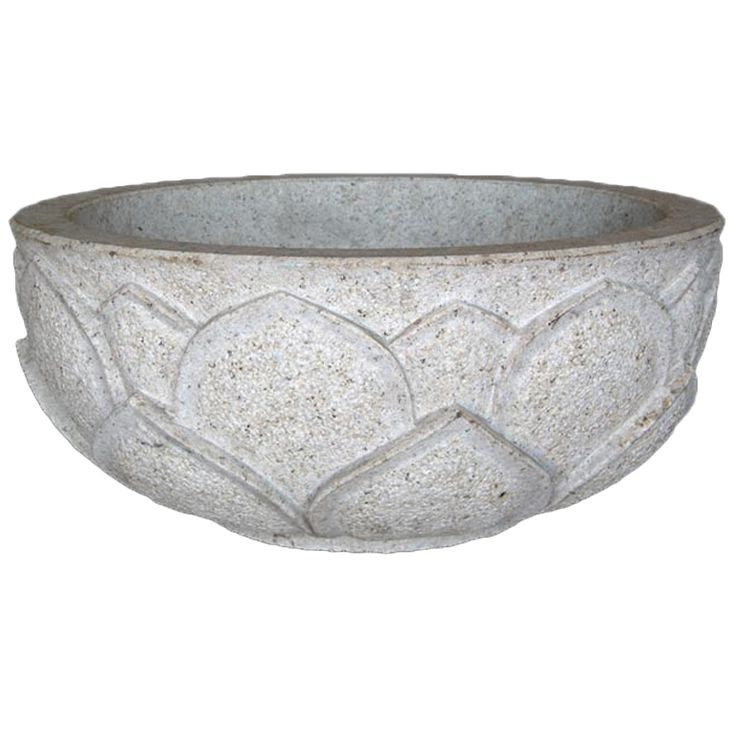 Image Of Carved Stone Bowl From a unique collection of antique and modern planters and jardinieres at